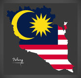 Pahang Malaysia map with Malaysian national flag illustration Stock Images