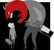 Pai alcoólico e uma criança ilustração stock