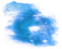 Pai astratto della spruzzata di colore di acqua della spazzola dell'acquerello dell'inchiostro blu del colpo Immagini Stock