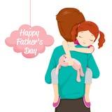 Pai Carrying Sleeping Daughter Fotografia de Stock Royalty Free