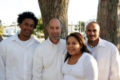 Pai com as crianças adotadas da raça misturada Fotos de Stock Royalty Free