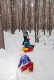 Pai com crianças para uma caminhada no inverno fotos de stock