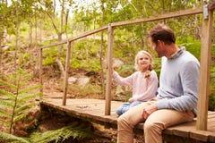 Pai com a filha que senta-se na ponte de madeira Fotografia de Stock