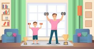 Pai com o filho que faz o vetor dos exercícios em casa ilustração stock