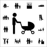 pai com um ícone do carrinho de criança Grupo detalhado de ícones da família Sinal superior do projeto gráfico da qualidade Um do ilustração royalty free