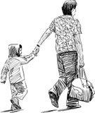 Pai com uma criança Fotos de Stock Royalty Free