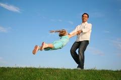 Pai com uma filha fotografia de stock royalty free
