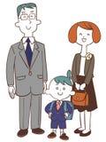 Pai da cerimônia da entrada da escola e menino da criança ilustração royalty free