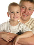 Pai das faces com o filho isolado Fotos de Stock Royalty Free