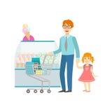 Pai And Daughter Shopping para a ilustração da seção dos doces, do shopping e do armazém Imagens de Stock Royalty Free