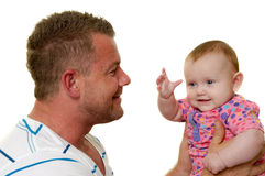 Pai e bebê de sorriso Imagens de Stock