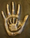 Pai e criança do molde da mão Fotografia de Stock