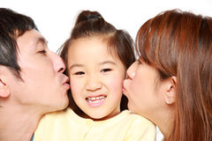 Pai e filha japoneses Fotografia de Stock