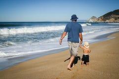 Pai e filho da criança de 2 anos que anda ao longo da areia na praia dentro fotografia de stock