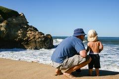 Pai e filho da criança de 2 anos que enfrenta ondas de oceano na praia de b fotos de stock royalty free