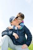 Pai e filho felizes foto de stock royalty free