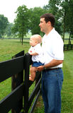 Pai e filho na exploração agrícola Fotografia de Stock