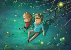 Pai e filho na noite bonita Sit Down na grama verde que diz histórias ilustração do vetor