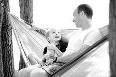 Pai e filho na rede Imagens de Stock Royalty Free