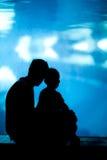 Pai e filho no aquário Fotos de Stock Royalty Free