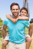 Pai e filho no campo Fotografia de Stock Royalty Free