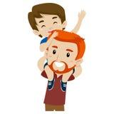 Pai e filho que fazem às cavalitas o passeio Imagens de Stock