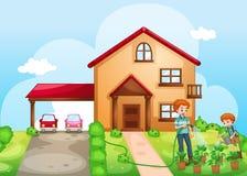 Pai e filho que molham as plantas em casa Imagem de Stock