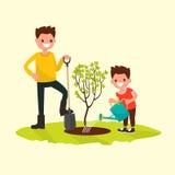 Pai e filho que plantam uma árvore Ilustração do vetor Imagem de Stock