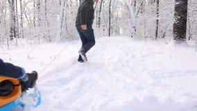 Pai e filho que sledding no parque do inverno filme