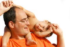 Pai e filho sobre o branco Foto de Stock