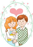 Pai e mãe e bebê Imagens de Stock