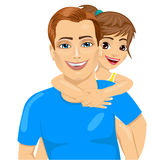 Pai e sua menina no sorriso do reboque Fotos de Stock