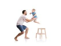 Pai feliz com seu filho Foto de Stock Royalty Free