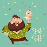 Pai feliz que sorri com bebê pequeno ilustração do vetor