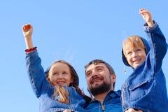 Pai, filho e filha Fotografia de Stock Royalty Free