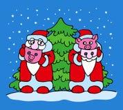 Pai Frost e porco com máscaras do disfarce perto da árvore de Natal ilustração stock