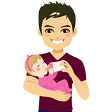 Pai Happy Feeding Daughter Imagem de Stock