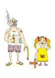 Pai irritado e filha de grito Foto de Stock Royalty Free