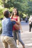 Pai Lifting Daughter In o ar no parque do verão Fotos de Stock