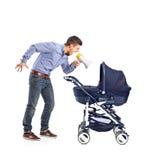 Pai louco que grita a seu bebê foto de stock royalty free