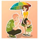 Pai, mãe, filho e filha junto Fotos de Stock