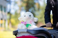 Pai que empurra um carrinho de criança de bebê com brinquedo imagens de stock