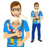 Pai que guarda a menina com portador de bebê ilustração stock