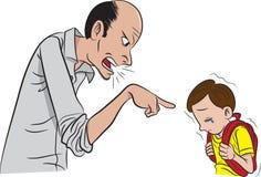 Pai que scolding seu filho Fotografia de Stock