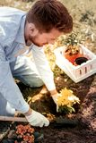 Pai ruivo bonito que usa a pá pequena para jardinar imagem de stock royalty free