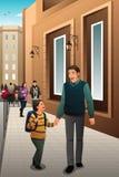 Pai Son Walking à escola Imagens de Stock Royalty Free