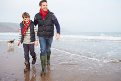 Pai And Son Walking na praia do inverno fotografia de stock royalty free