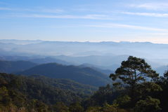 Pai in Thailand. Morning scenic view from the top mountain in Pai, north of Thailand Stock Photos