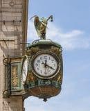 Pai Time Clock nos joalheiro que constroem, Chicago Fotos de Stock Royalty Free