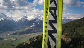 Paia degli sci nelle alpi austriache Immagini Stock Libere da Diritti